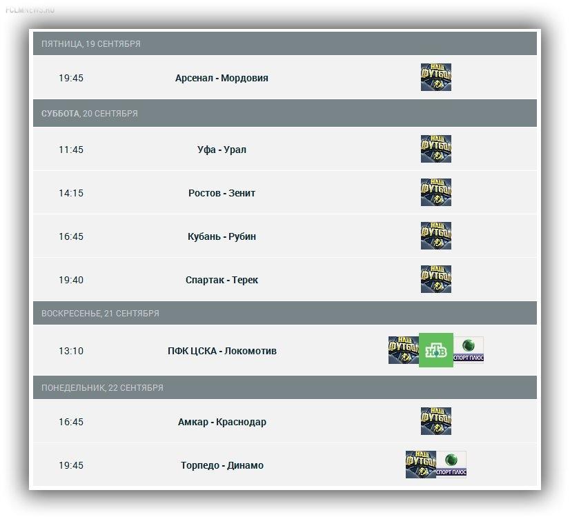 Расписание трансляций матчей 8-го тура СОГАЗ-Чемпионата России по футболу