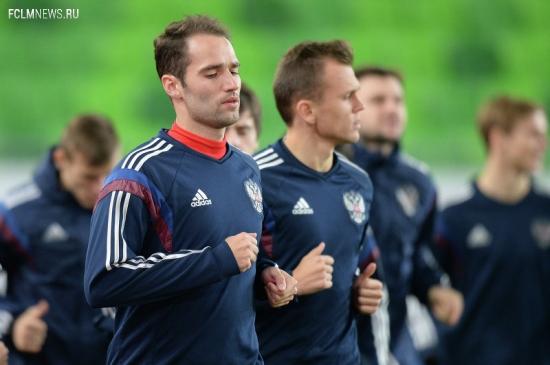 Тренировка сборной России по футболу перед товарищеским матчем с венграми