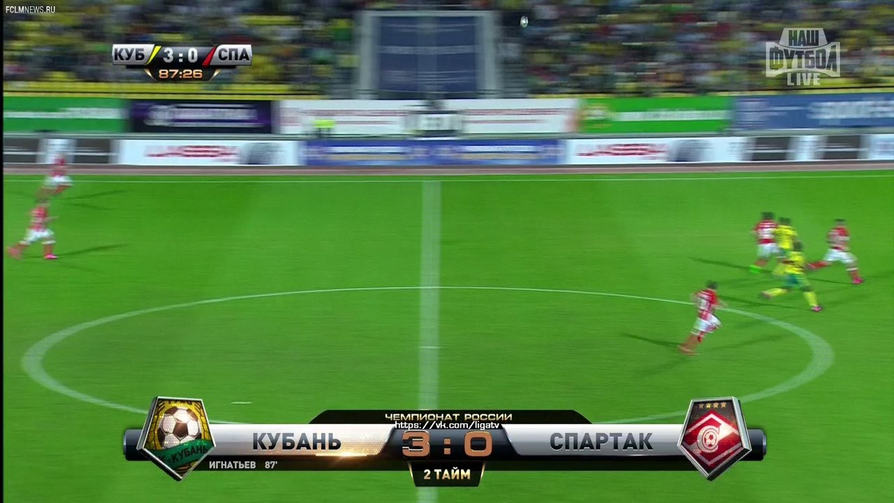 """""""Кубань"""" - """"Спартак"""" 3:0"""