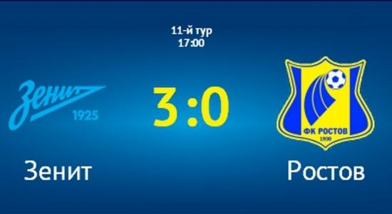 Зенит дома обыграл Ростов 3:0