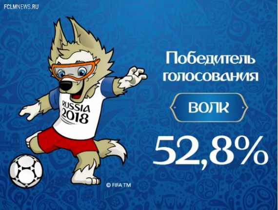 Волк Забивака стал талисманом чемпионата мира 2018 года